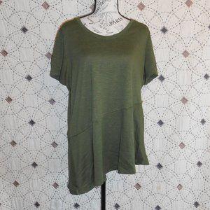 3/$10 A New Approach Green Asymmetrical Top XL